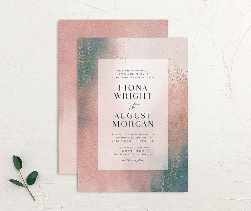 Watercolor ombre wedding invitation