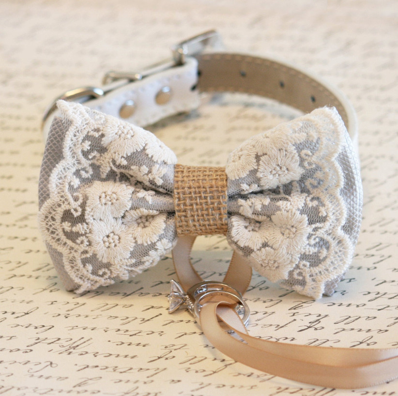 burlap bow collar