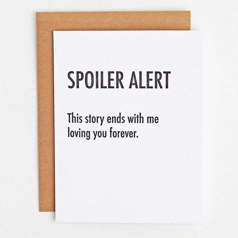 paper source spoiler alert greeting card for 13th year wedding anniversary gift