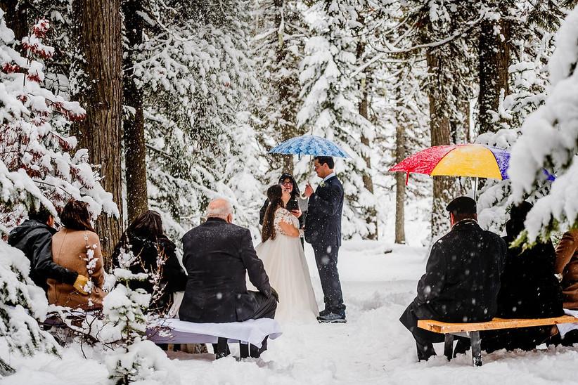 Wedding ceremony in snowy woodland setting