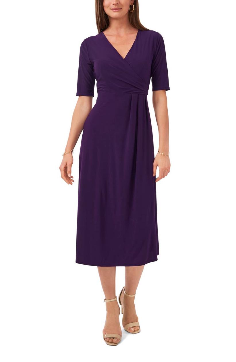 Purple midi dress for fall wedding guest