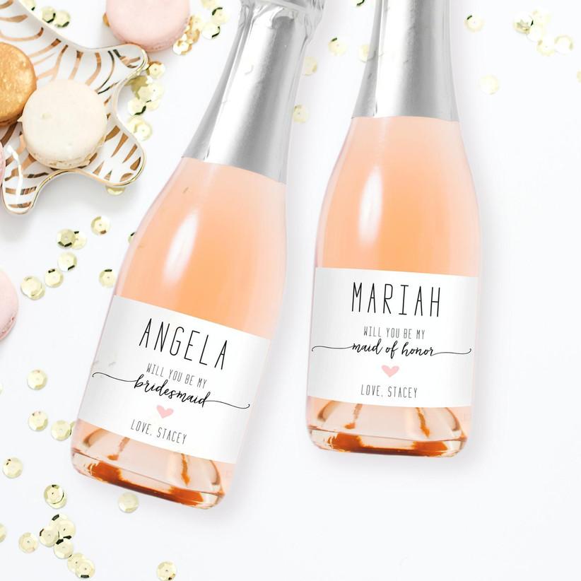 Custom wine labels bridesmaid proposal box idea