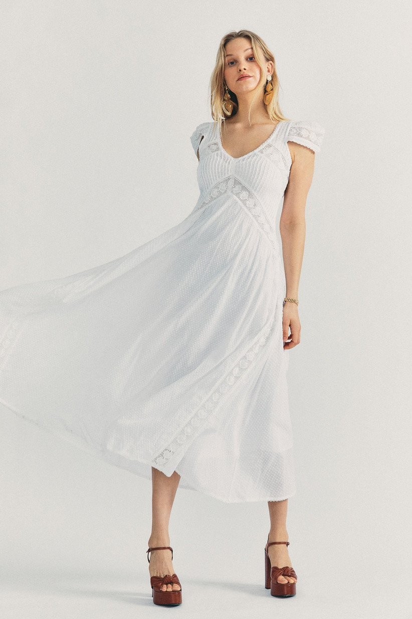 boho engagement party dress long white flowy dress with crochet details