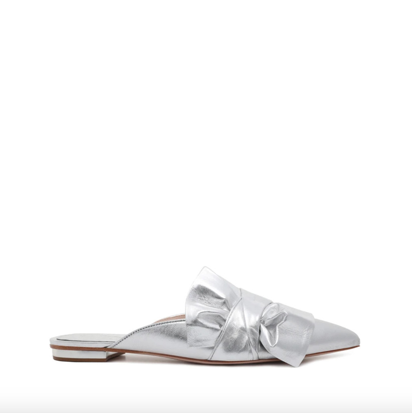 Wedding Guest Shoes silver flat mules