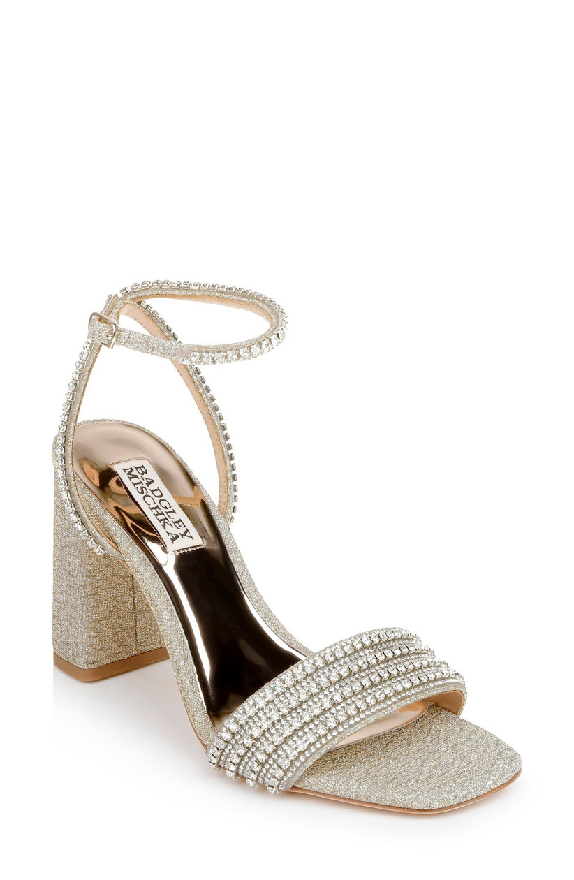gold wedding sandal with block heel and rhinestone straps