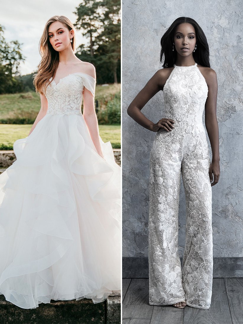 Allure Bridals ruffled ballgown wedding dress and lace jumpsuit