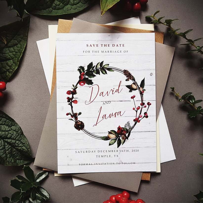 berry wreath save the dates
