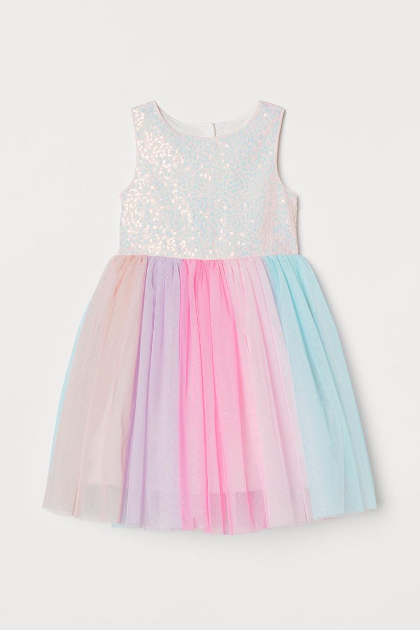 rainbow tulle sparkly HM dress