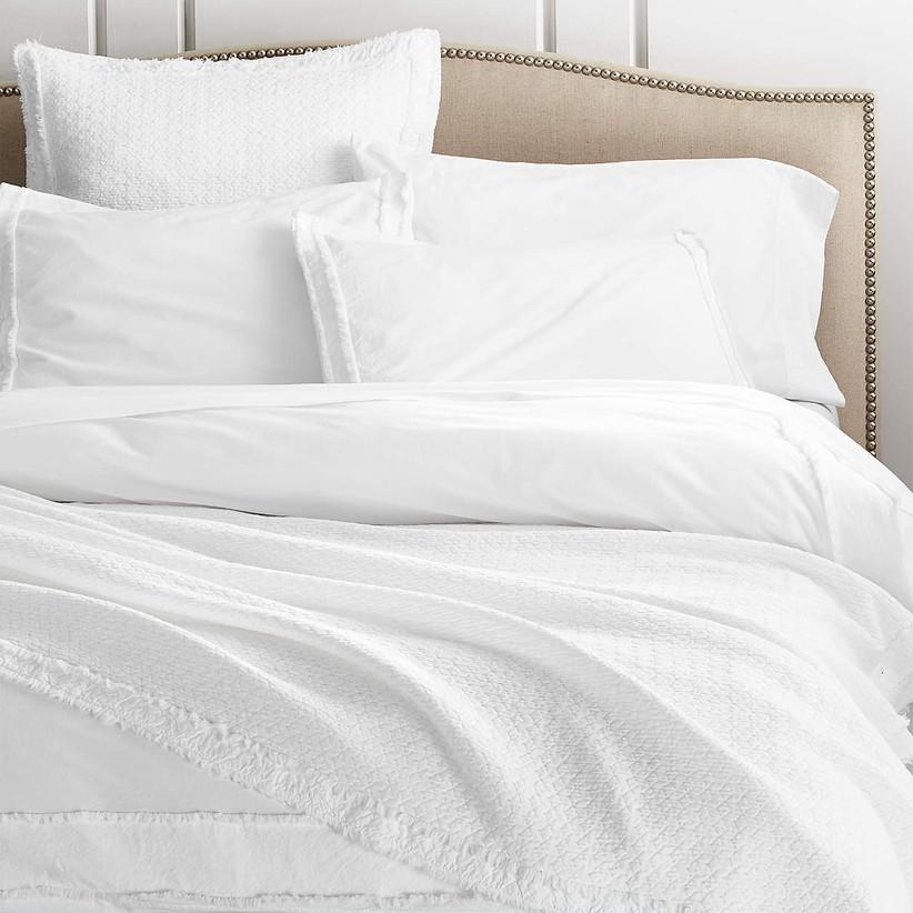 white organic cotton duvet on bed