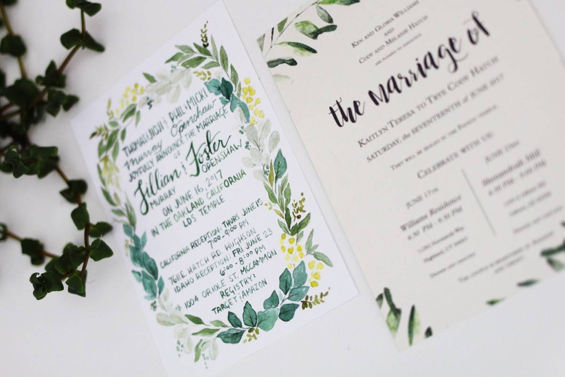 greenery wedding announcements