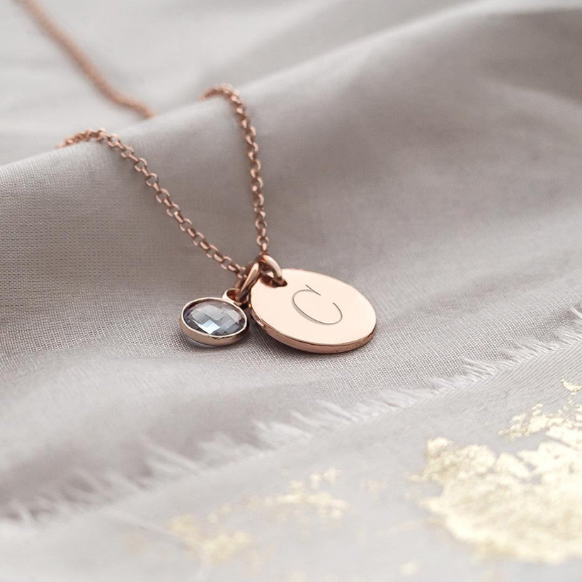 Personalized initial birthstone necklace mother of the groom gift