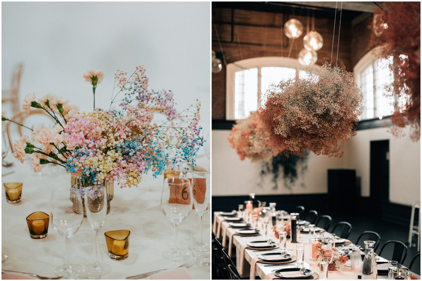 spray-painted baby's breath 2021 wedding flower trend with colorful pastel baby's breath centerpieces and hanging centerpiece