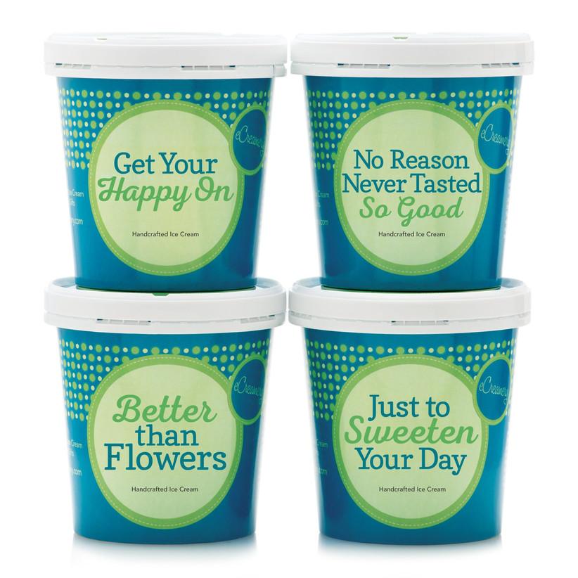 Four tubs of eCreamery ice cream food gift idea for couples