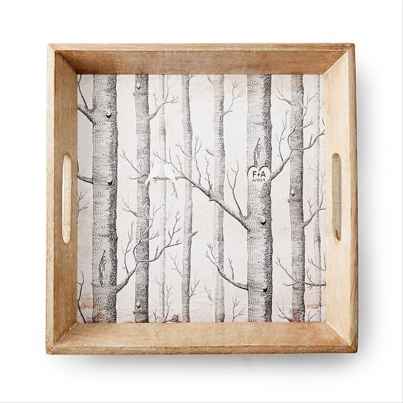 square tray with etched tree motif