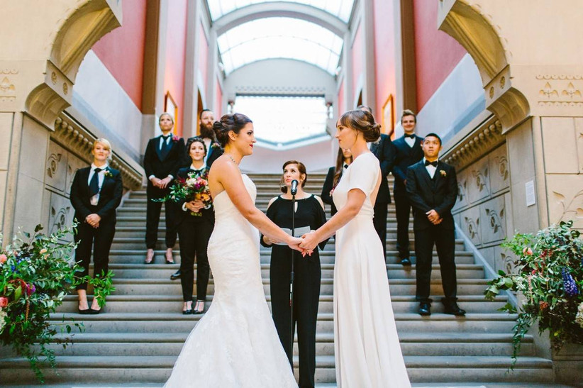 two brides at wedding ceremony