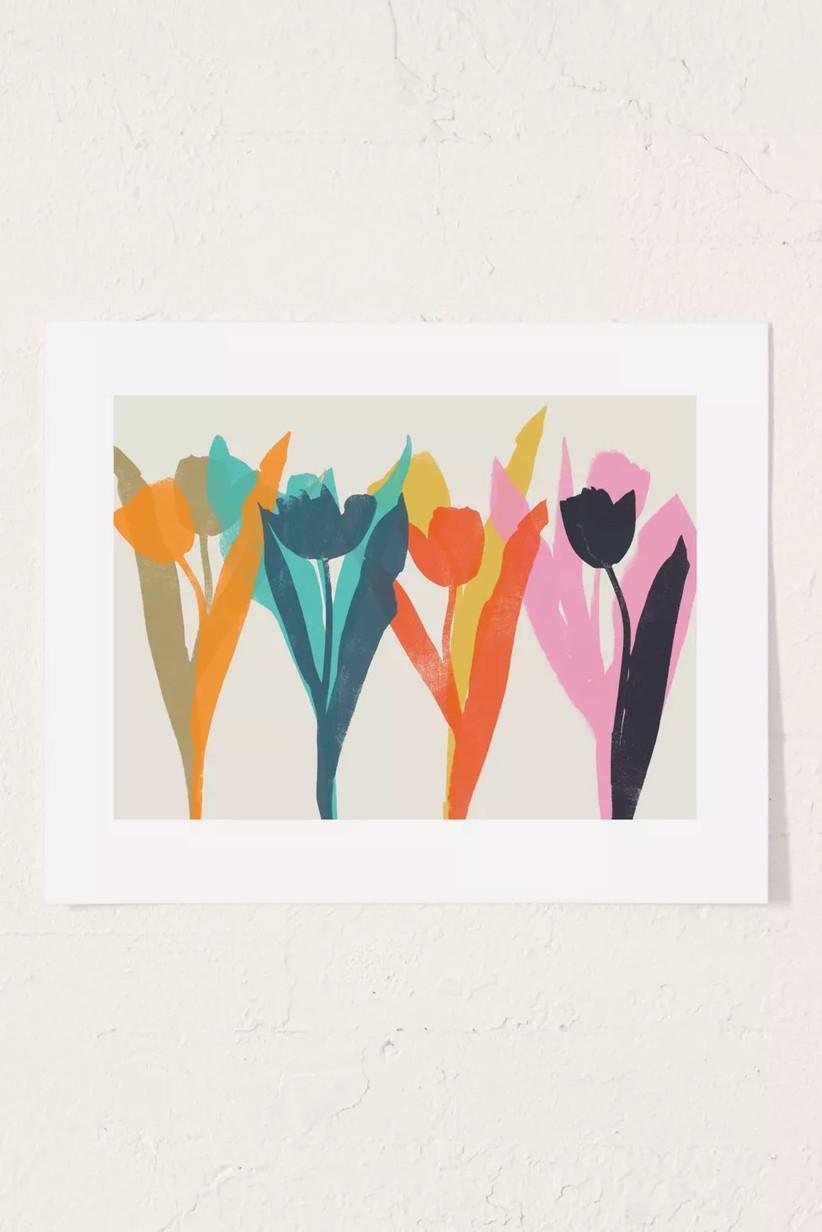 tulip art print for 11th year wedding anniversary gift