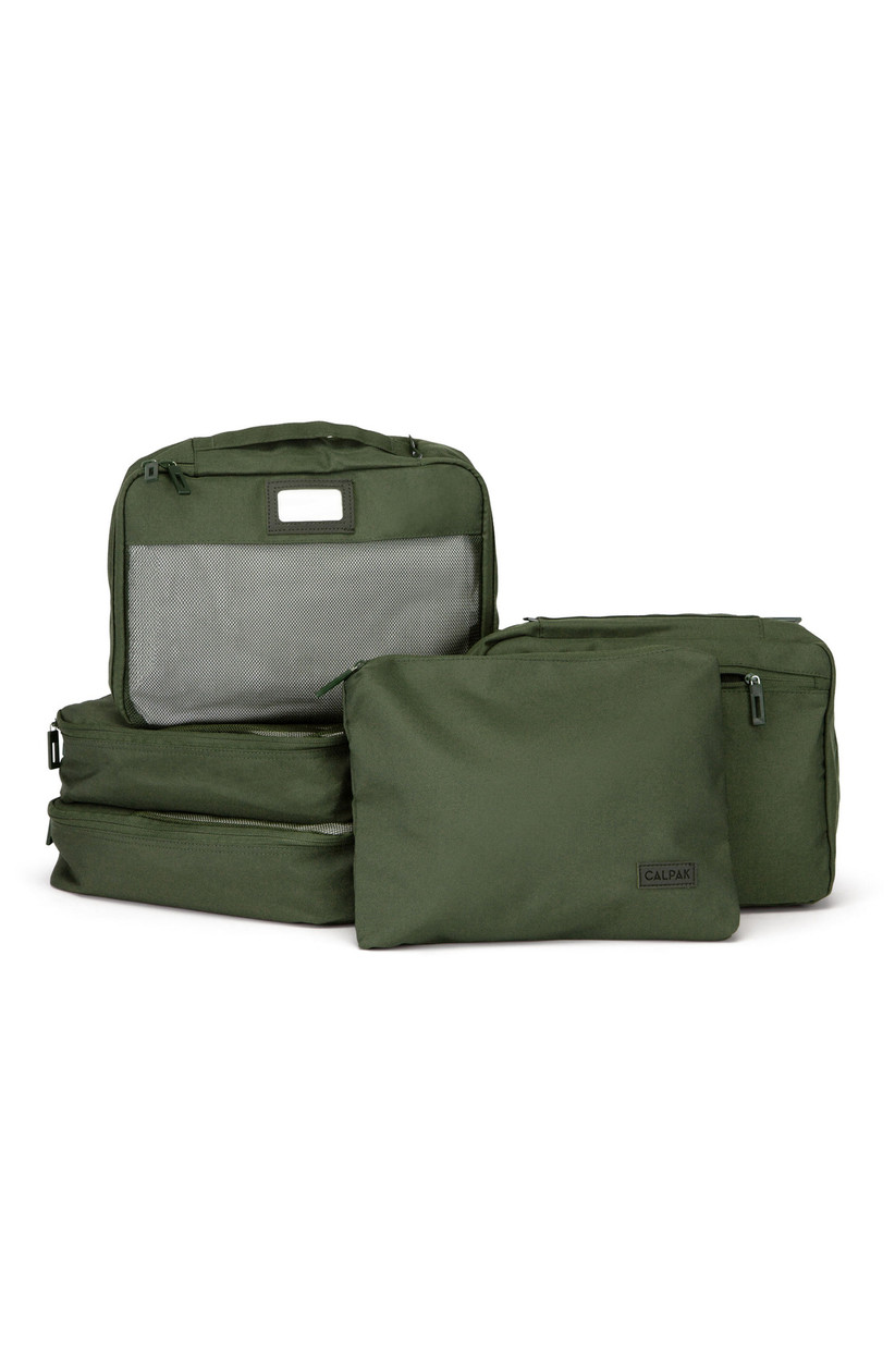 5-piece luggage packing cube set in green