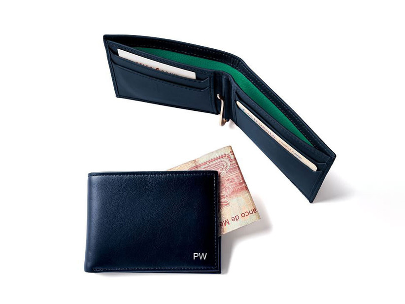 Monogrammed leather wallet 19th anniversary gift idea