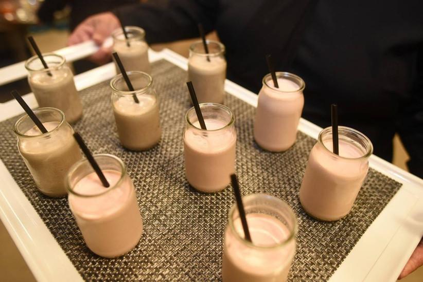 milkshakes in glass jars with straws