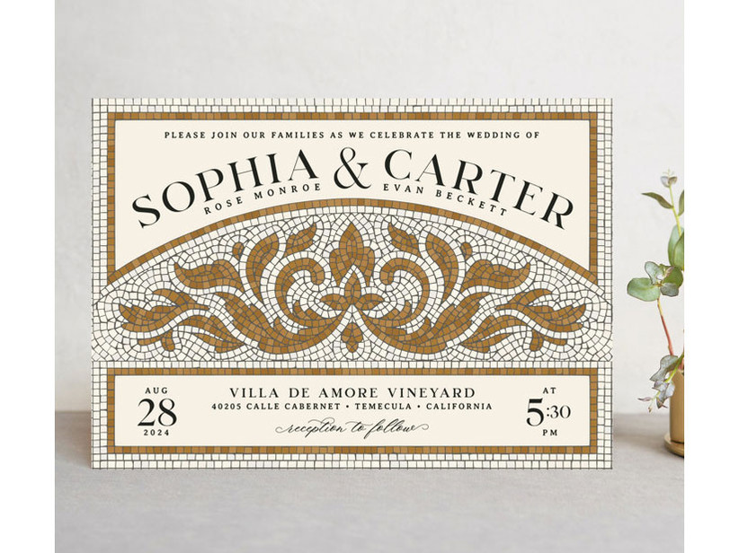 Gold and white mosaic affordable wedding invitation