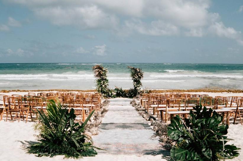 boho beach wedding ceremony in tulum mexico
