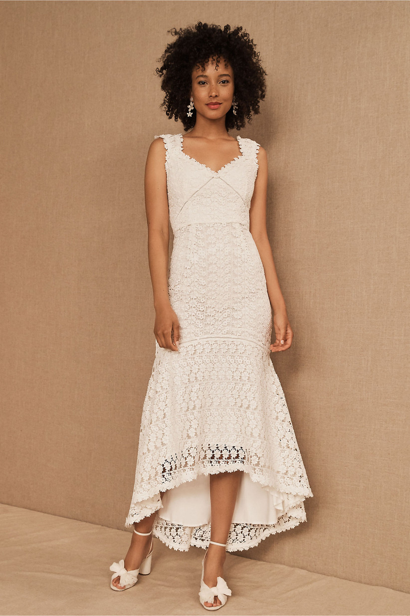 Floral lace white rehearsal dinner midi dress