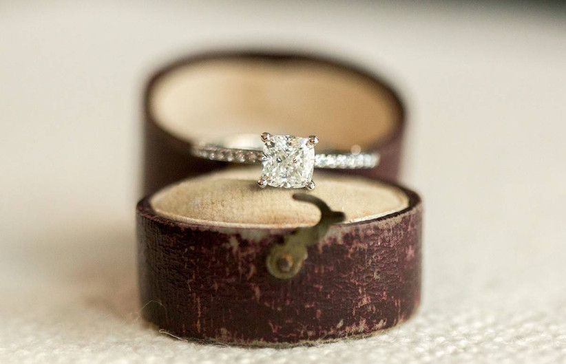 engagement ring in vintage brown leather ring box