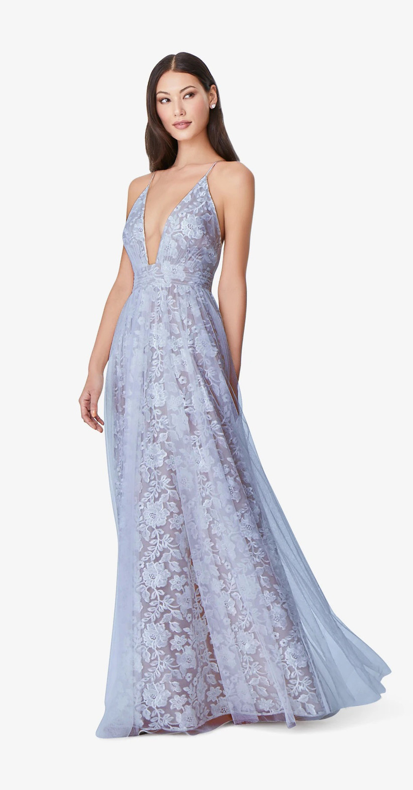 Model wearing deep V, floor-sweeping maxi with lacy blue floral print and sheer overlay