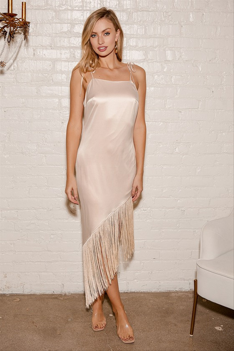 boho bachelorette party dress rose gold satin midi dress with asymmetrical fringe hem and spaghetti straps