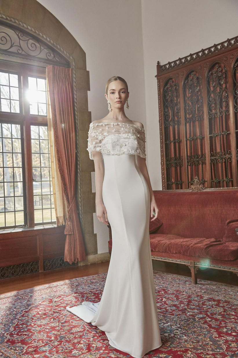 strapless fitted wedding dress with removable embroidered topper