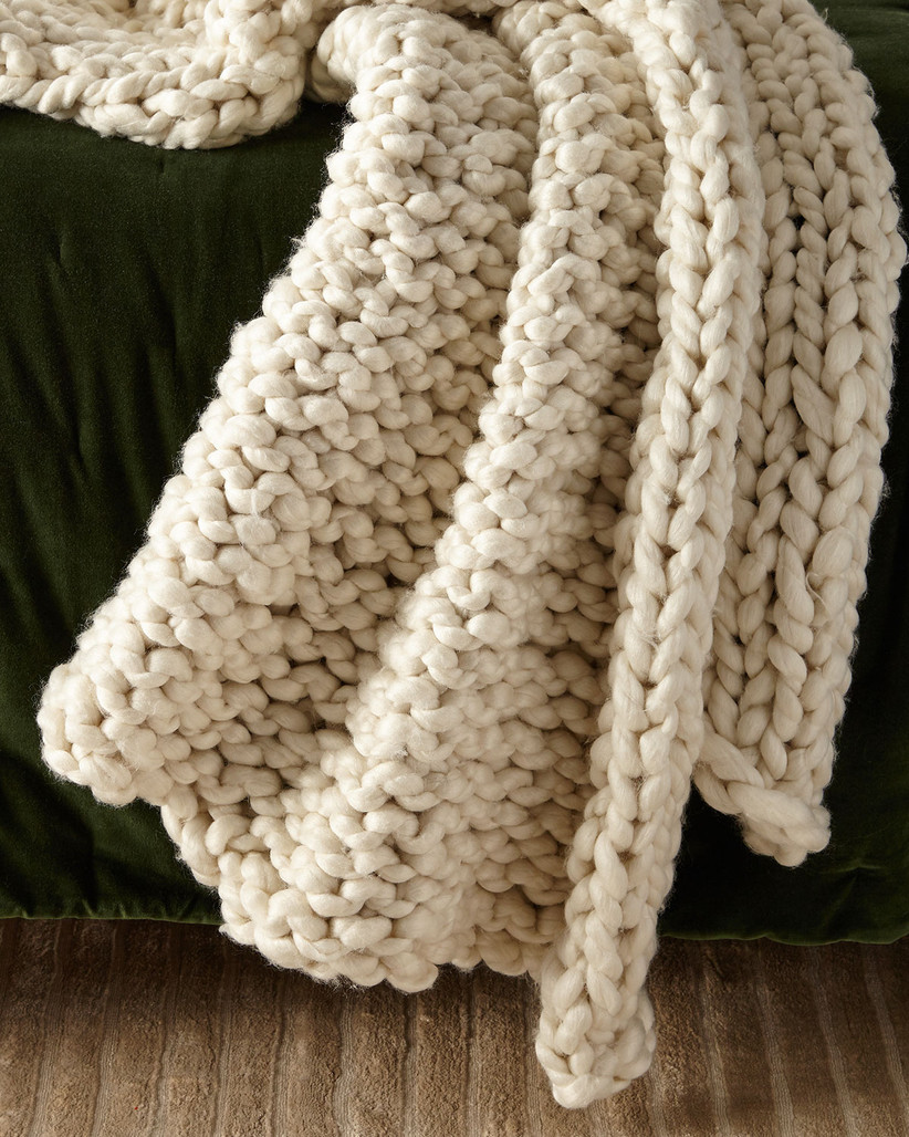 neiman marcus ivory knit throw blanket for 14th year wedding anniversary gift