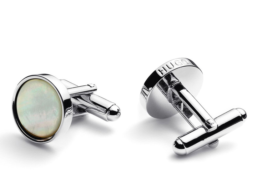 Round silver-toned metal cuff links with mother-of-pearl inlays