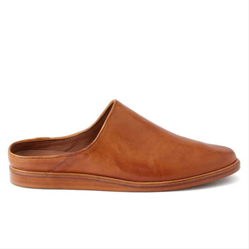 brown leather house shoe