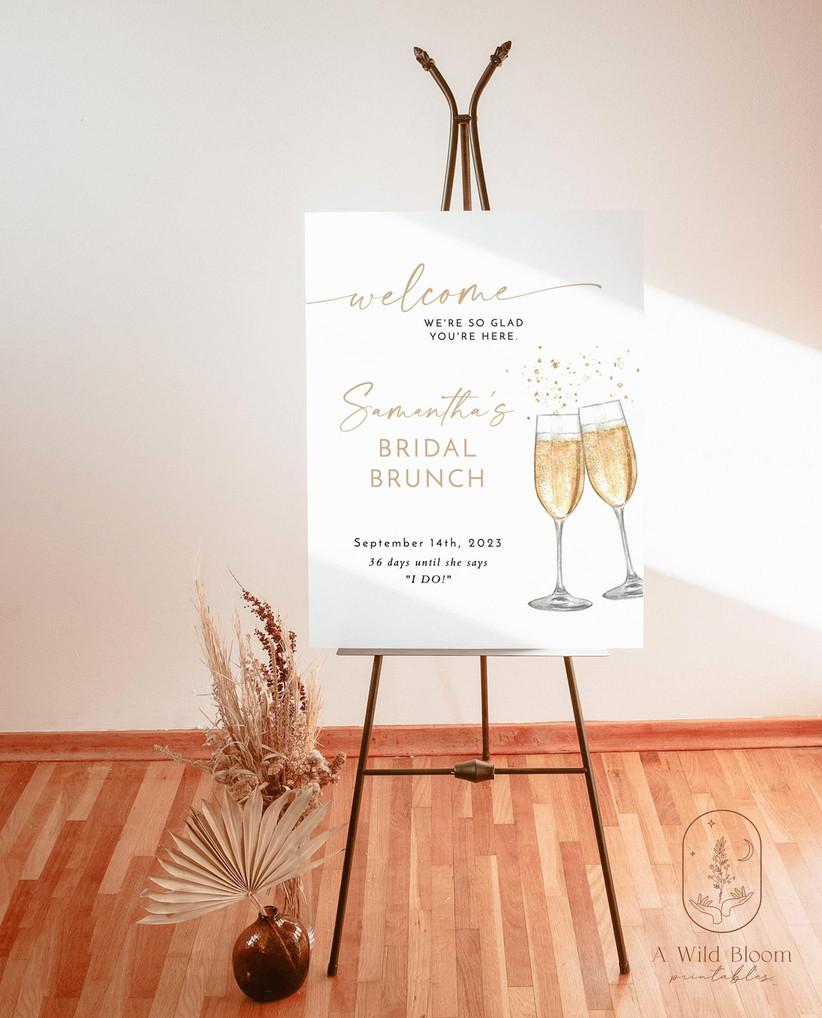 champagne bridal shower sign