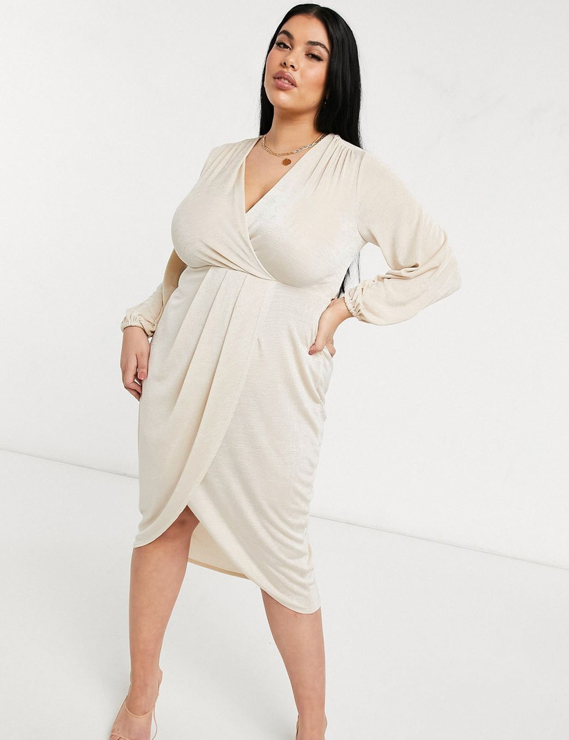 plus-size engagement party dress ivory wrap style dress with long blouson sleeves and tulip skirt hem