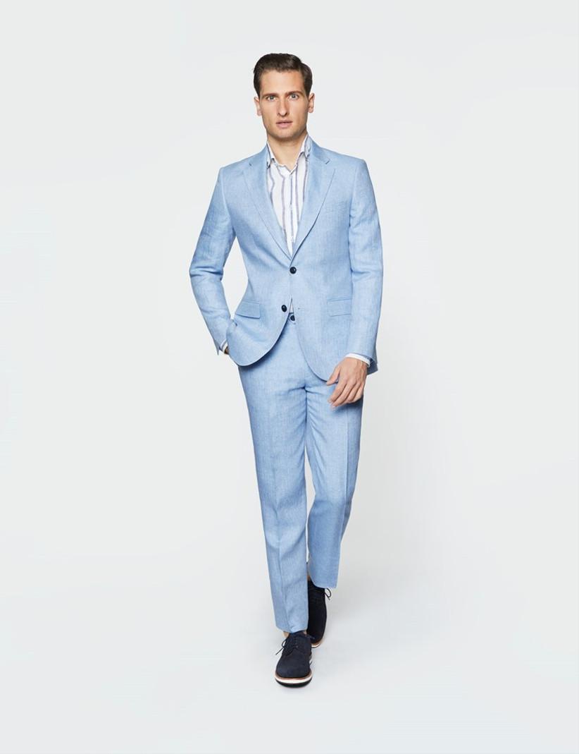 Pastel blue herringbone linen summer wedding suit