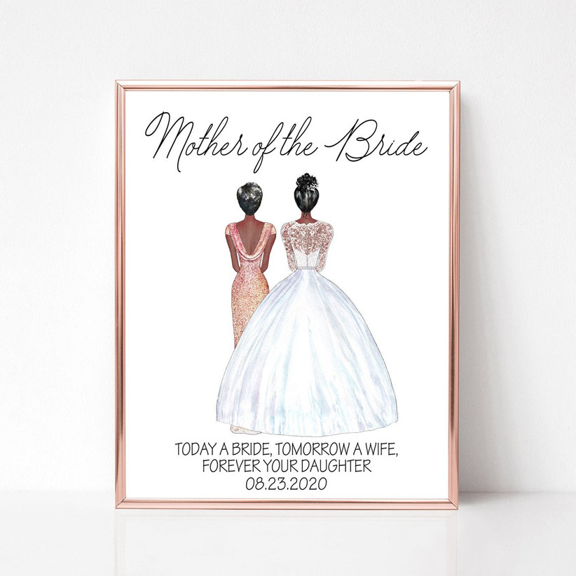 Custom Mother of the Bride and Bride illustrated portrait