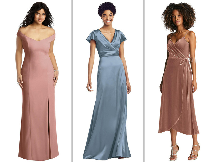 Collage of bridesmaid dresses left to right: desert rose trumpet gown, slate blue satin maxi dress, rose-hued velvet wrap midi