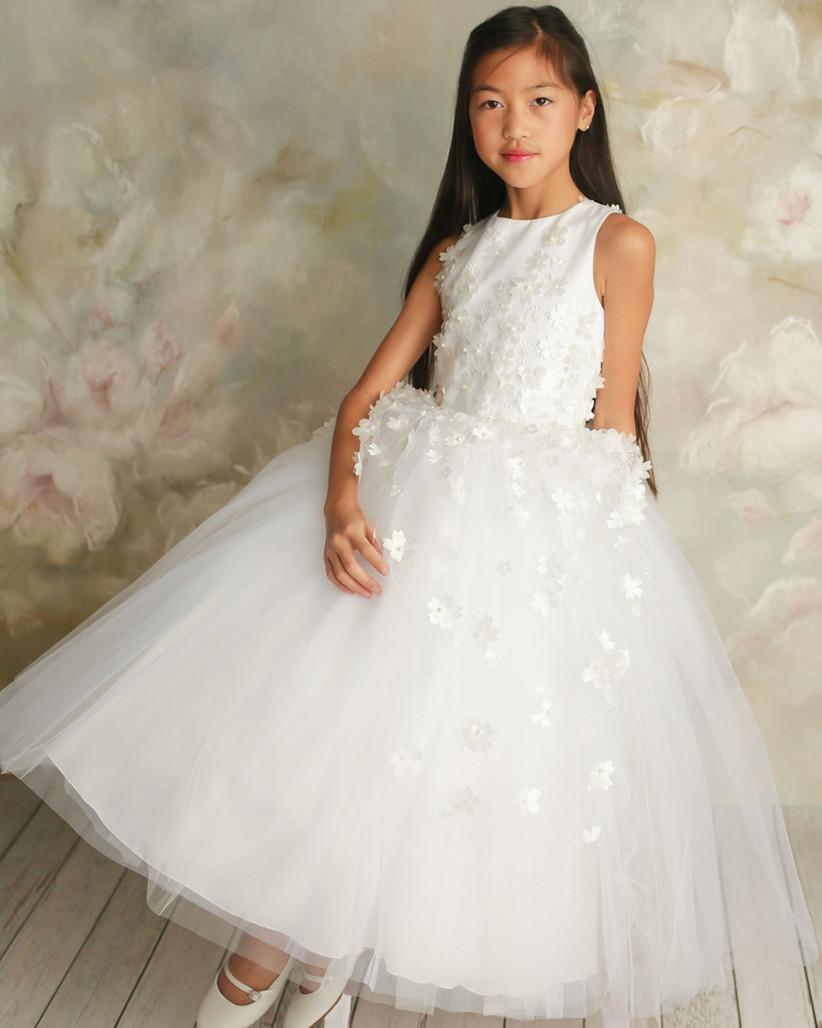 floral applique long flower girl dress
