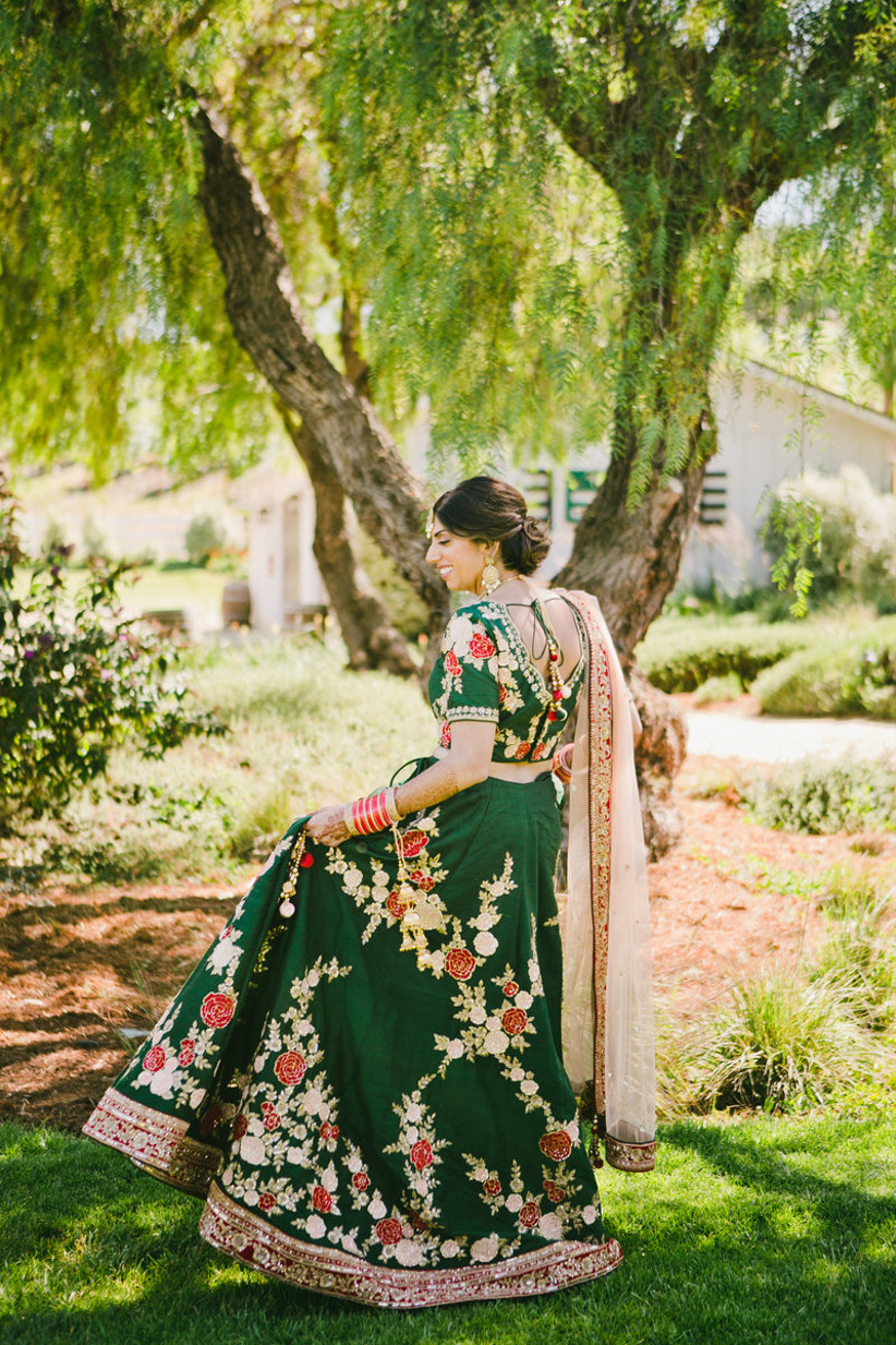 green and gold indian bride attire