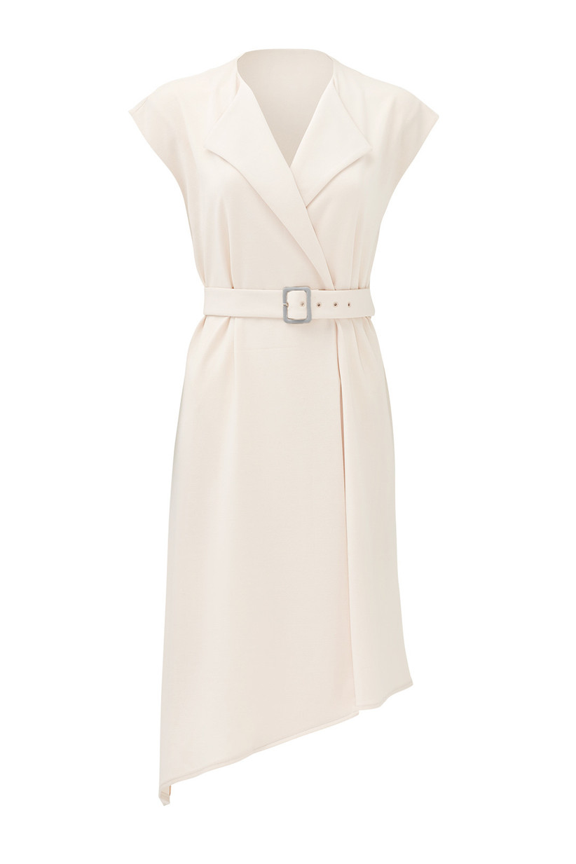 white sleeveless trench-style engagement party dress with adjustable belt