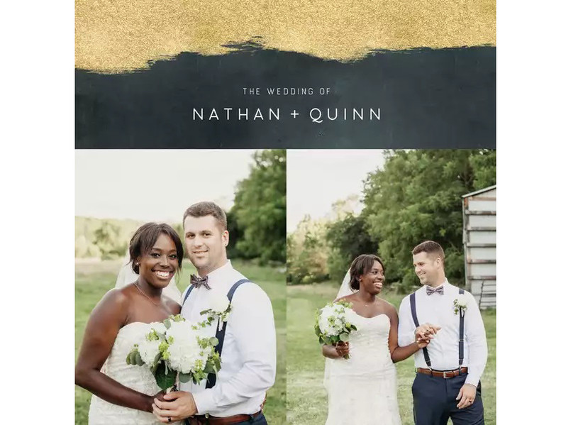 Modern black and gold wedding photo book with two-picture collage of newlyweds on the cover