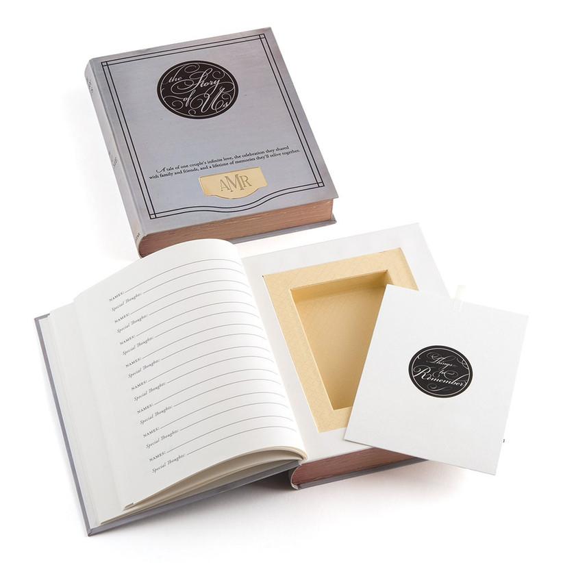 Storybook unique wedding guest book idea with hidden compartment