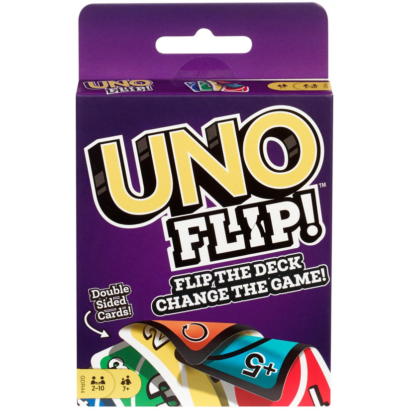Purple UNO FLIP! card pack showing picture of the double-sided cards