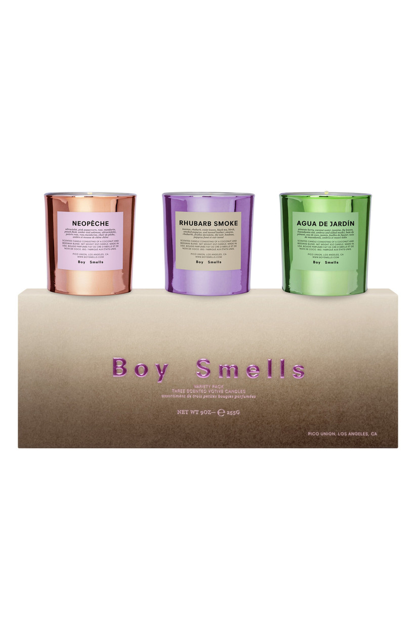 Set of three votive candles with packaging labelled Boy Smells