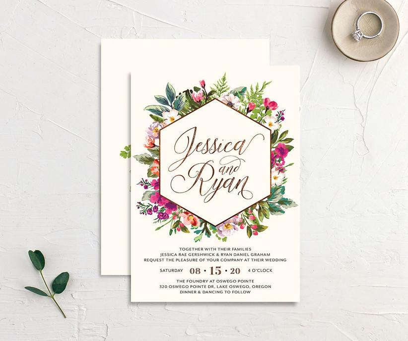 Hexagonal frame floral affordable wedding invitation