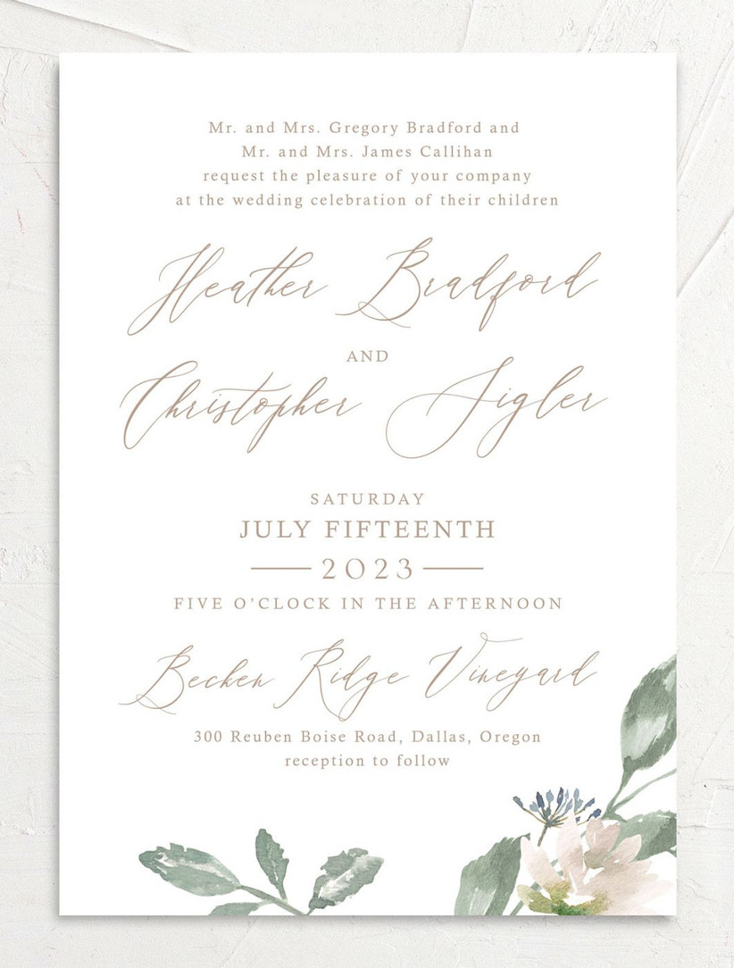 romantic spring wedding invitations with blush and green watercolor flowers