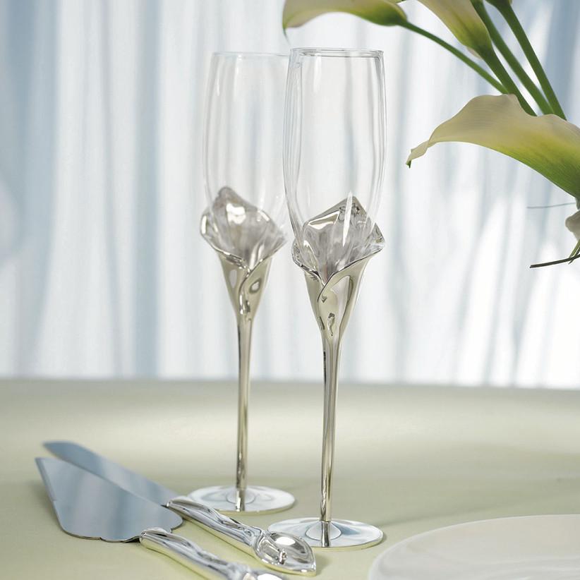 Calla lily-stemmed wedding champagne flute set