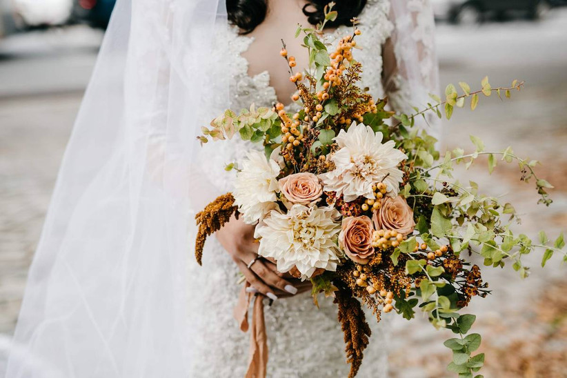 wedding bouquet with white dahlias and greenery