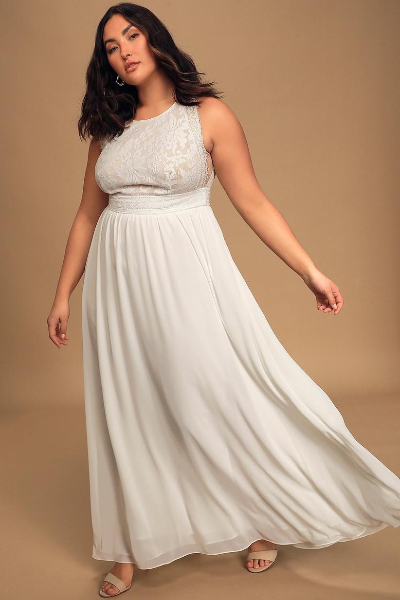 Ethereal white maxi rehearsal dinner dress